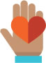icon of hand with heart
